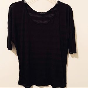 Black strip dolman sleeved top S